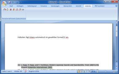 Ein Word-Add-in fügt Fußnoten, Zitate und Literaturlisten aus Zotero mit einem Klick in Dokumente ein