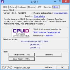 """Auf der Registerkarte """"About"""" speichert die Option """"Save Report (.txt)"""" die von CPU-Z dargestellten Systemwerte als Textdatei. Ein Klick auf """"Save Report (.html)"""" speichert dieselben Angaben als HTML-Datei."""