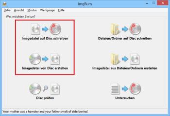 Eine Spezialität von ImgBurn ist das Auslesen und Brennen von Image-Dateien im ISO-Format. Die entsprechen Funktionen finden Sie im Hauptbildschirm des Tools.