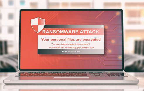 Laptop mit Ransomware