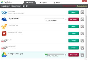 NetDrive macht den Speicherplatz von FTP- und Webdav-Servern sowie verschiedener Cloud-Dienste als lokales Laufwerk nutzbar. Unter dem Reiter Drives können Sie Ihre einzelnen Speicher verwalten.