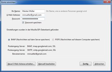 Die nötigen Einstellungen für E-Mail-Konten nimmt der Client auf Basis der ISP-Datenbank automatisch vor