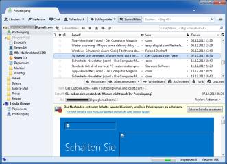 Thunderbird stellt HTML-Mails per Vorgabe in einem Format dar, das missbräuchlich einsetzbare HTML-Elemente herausfiltert