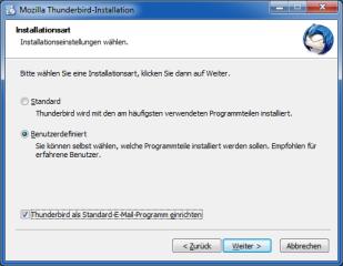 Bei der Installation legen Sie fest, ob Thunderbird als Standard-E-Mail-Client dienen soll
