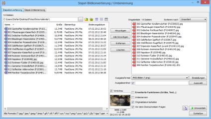 Der Faststone Image Viewer enthält auch einige Bildbearbeitungsfunktionen. So lassen sich beispielsweise komplette Bildersammlungen in einem Arbeitsgang in ein anderes Grafikformat überführen.