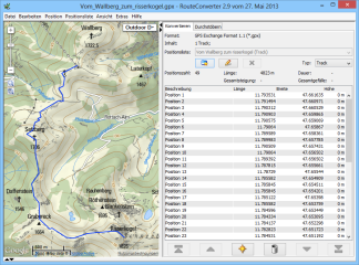 """Um Geodaten in ein anderes Format zu wandeln, laden Sie in RouteConverter mit """"Datei, Öffnen... """" zunächst die Ausgangsdatei. Nachdem die Datei geladen wurde, erscheint links die Kartendarstellung und recht im Reiter """"Konvertieren"""" die Positionsliste."""