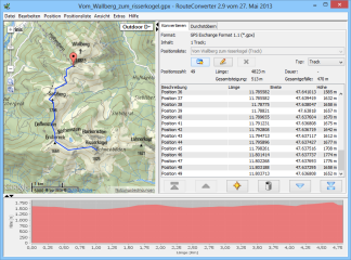 Wenn die Geodaten auch Höheangaben enthalten, dann lässt sich am unteren Fensterrand ein Höhenprofil der Strecke einblenden, was beispielsweise bei der Einschätzung einer Bergwanderung oder Mountain-Bike-Tour recht hilfreich ist.