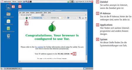 Tails hat das anonyme Tor-Netzwerk integriert, das beim Surfen im Web Ihre IP-Adresse versteckt wird. Diese Infografik zeigt, wie Sie das Tor-Netzwerk nutzen.