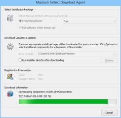 Der Macrium Reflect Download Agent prüft, welches WIndows-Betriebssystem auf Ihrem PC läuft, und lädt anschließend die benötigten Installationsdateien für die 32- oder die 64-Bit-Variante. Nach Abschluss des Downloads startet die Installation.