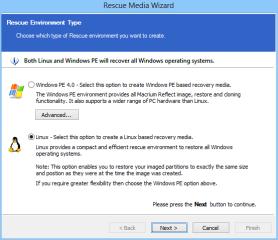 """Die Wiederherstellung der Daten erfolgt mit einer Boot-CD. Diese erstellen Sie mit """"Other Tasks, Create bootable Rescue Media"""". Dabei haben Sie die Wahl zwischen einem Linux-Rettungsmedium oder einer Rettungs-CD mit Windows PE."""