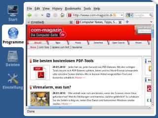 Das Mini-Linux Xpud enthält einen einsatzbereiten Firefox zum Surfen im Internet. Dank der guten Treiberausstattung funktioniert der Internetzugang per LAN oder WLAN auf den meisten PCs problemlos.