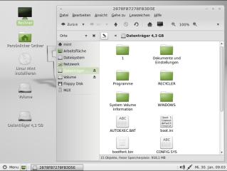 Das Live-System Linux Mint erkennt Windows-Partitionen automatisch und ermöglicht damit einen einfachen Datenaustausch