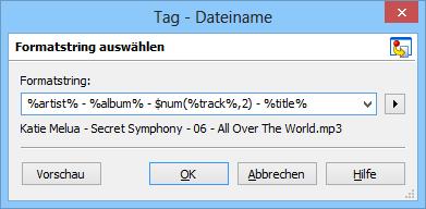 Mit den Konverter-Funktionen des Tag-Editors Mp3tag übernehmen Sie Tag-Informationen aus den Dateinamen Ihrer MP3-Dateien oder nutzen bereits eingearbeitete Tags zur Umbennung der Dateien.