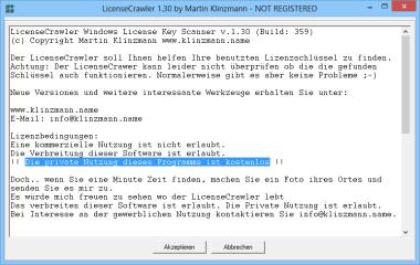 LicenseCrawler blendet zwar häufig Registrierungshinweise ein, doch die Nutzung des Programms ist für private Anwender kostenlos.