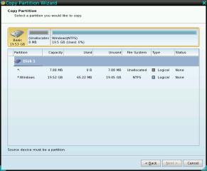 """Partition Wizard Bootable CD unterstützt Sie mit einem Kopierassistenten. Im Dialog """"Copy Partition Wizard"""" definieren Sie zunächst das Ziel Ihrer Partitionskopie und dann die Größe und Position der neuen Partition."""